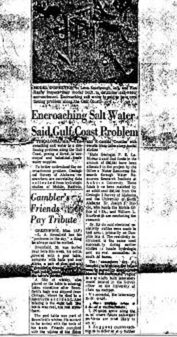 This Article Entitled Encroaching Salt Water Said Gulf Coast Problem Mobile Press Register on July 22, 1972